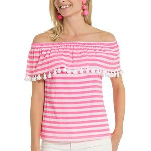 Sail to sable striped pink cold shoulder top, pink